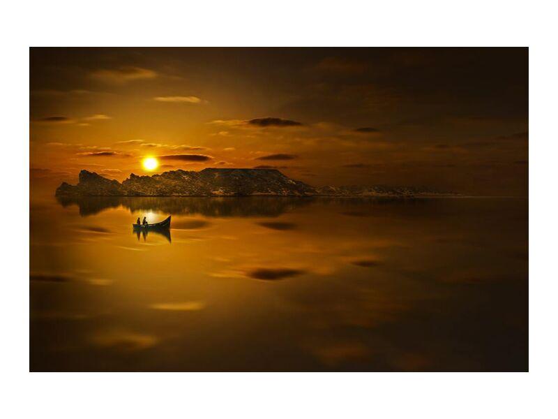 Eau doré from Aliss ART, Prodi Art, backlit, beach, boat, dawn, dusk, evening, lake, landscape, light, Morocco, ocean, reflection, sea, seascape, seashore, silhouette, Sun, sunset, water, golden sunset, silhouetted
