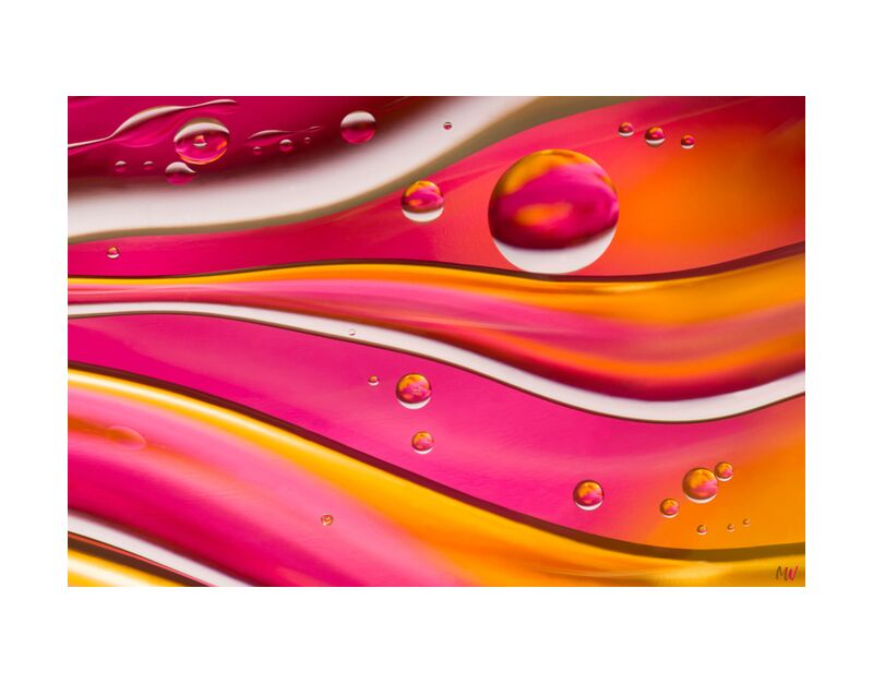 Oily bubbles #7 from Mickaël Weber, Prodi Art, color, droplets, goutelettes, drops, bubbles, Bulles, modern, modern, water, water, shapes, formes, fun, oily, oil, huile, macro, abstract, pink, orange, yellow