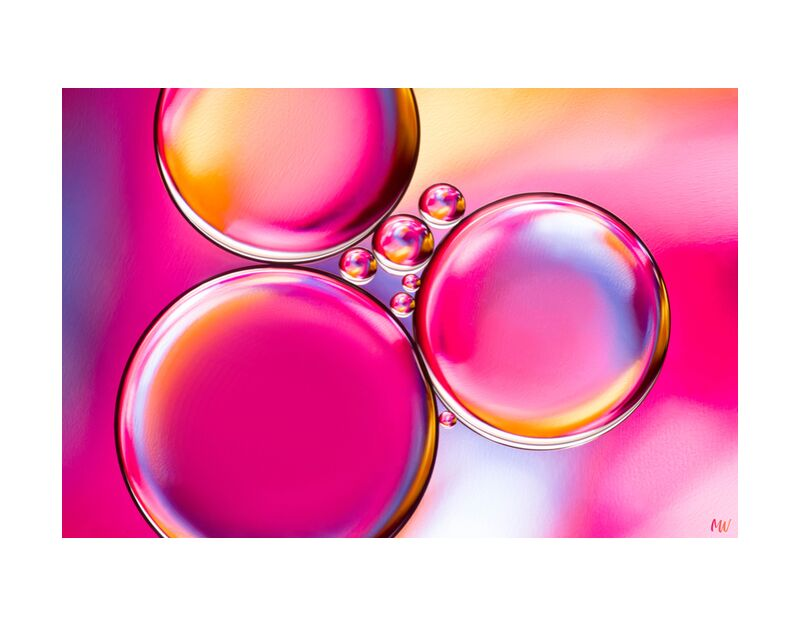 Oily bubbles #8 from Mickaël Weber, Prodi Art, macro, color, droplets, goutelettes, drops, bubbles, Bulles, modern, modern, water, water, shapes, formes, fun, oily, oil, huile, abstract, pink, yellow, purple