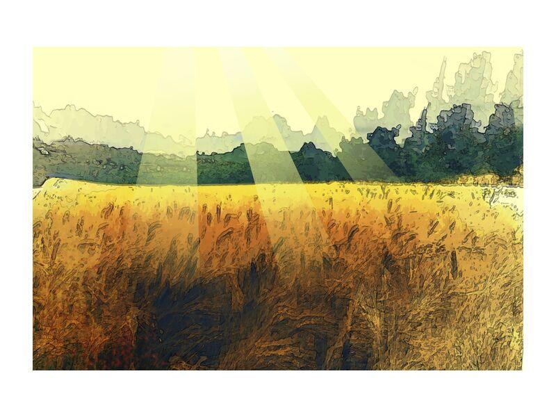 Le blé et son soleil de Adam da Silva, Prodi Art, blé, soleil, peinture, arbres, récolte