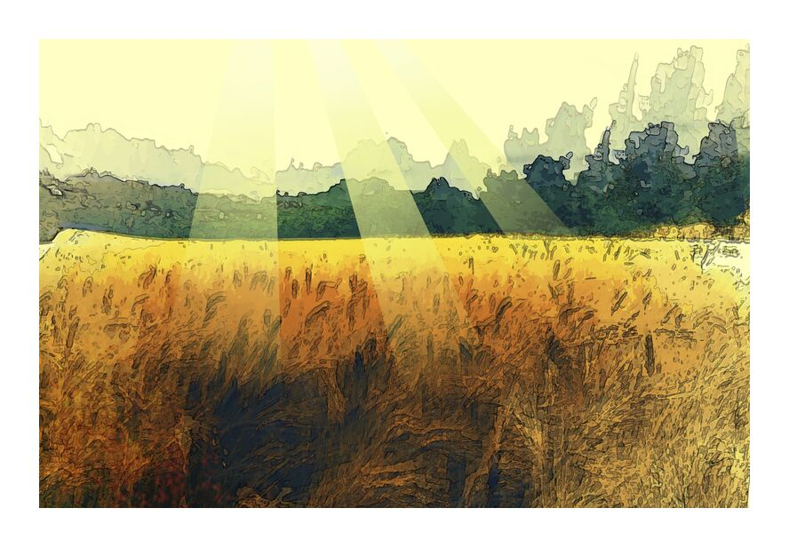The wheat and its sun from Adam da Silva, Prodi Art, wheat, Sun, painting, trees, harvest