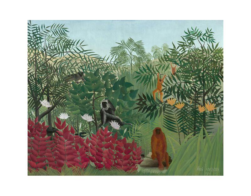 Tropical forest with monkeys desde AUX BEAUX-ARTS, Prodi Art, naturaleza, Rousseau, bosque, selva, serpiente, árboles, monos