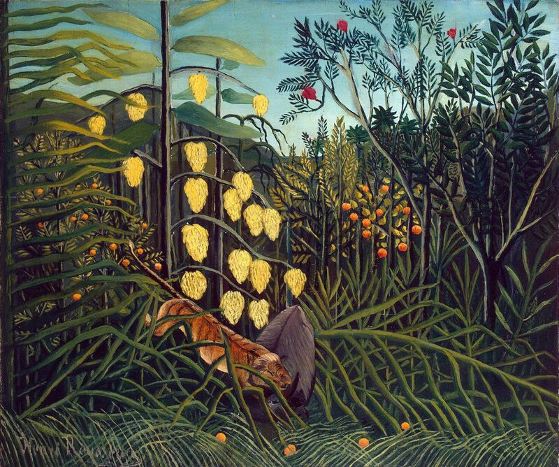 Dans le Foret Tropicale : Combat du Tigre et du Buffle de Aux Beaux-Arts Decor Image