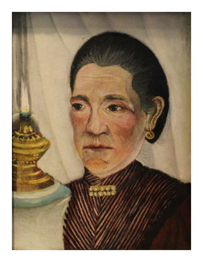 Portrait of the artist's second wife with a lamp from AUX BEAUX-ARTS, Prodi Art, rousseau, woman, lamp, portrait, wife