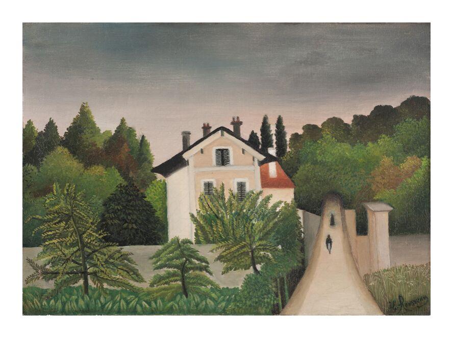 Landscape Taken on the Edges of Oise, Territory of Chaponval from Aux Beaux-Arts, Prodi Art, rousseau, landscape, House, forest, sky, trees