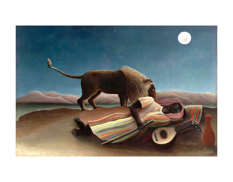 The sleeping gypsy desde AUX BEAUX-ARTS, Prodi Art, arena, música, guitarra, estrellas, salvaje, león, luna, desierto, Rousseau