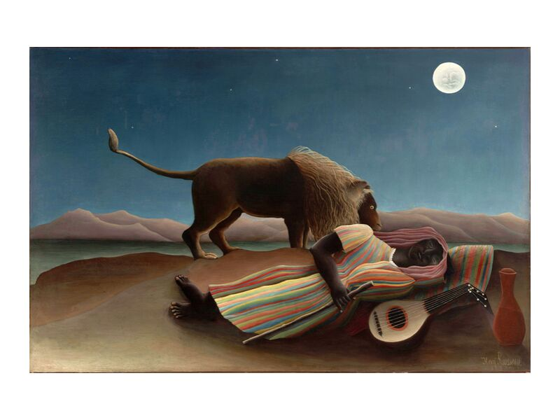 The sleeping gypsy from AUX BEAUX-ARTS, Prodi Art, sand, music, guitar, stars, wild, Lion, Moon, desert, rousseau