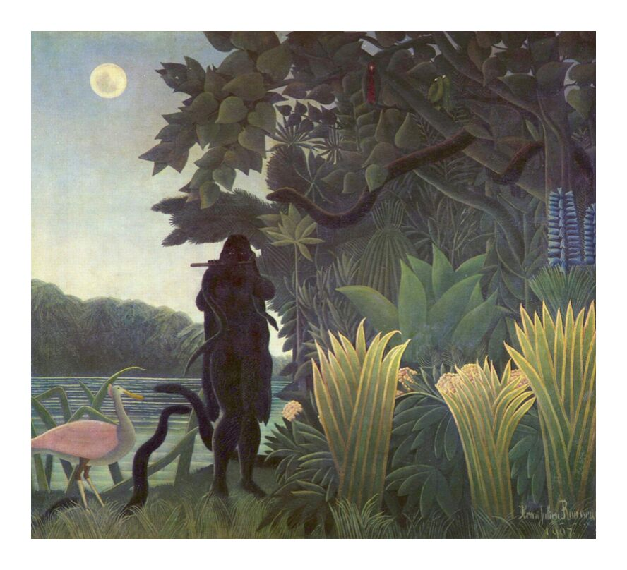 The Snake Charmer from AUX BEAUX-ARTS, Prodi Art, snake charmer, charmer, snakes, jungle, forest, Moon, rousseau, nature