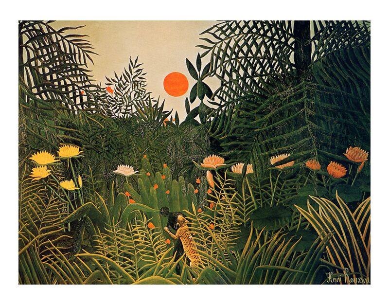 Attacked by a jaguar desde AUX BEAUX-ARTS, Prodi Art, sol, selva, Rousseau, bosque, jaguar, ataque