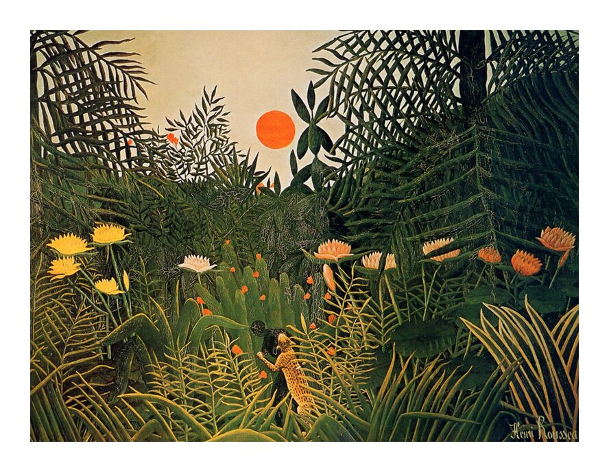 Attacked by a jaguar from Aux Beaux-Arts, Prodi Art, Sun, jungle, rousseau, forest, jaguar, attack