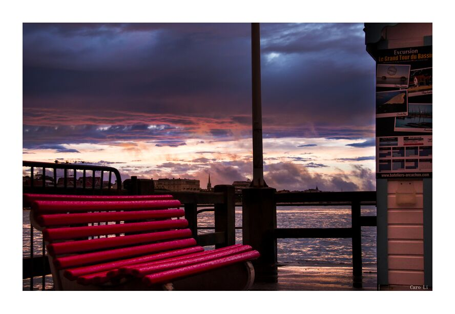 The Bench from Caro Li, Prodi Art, the bench, The Bench, arcachon, France, sunset, sunset, sea, sea