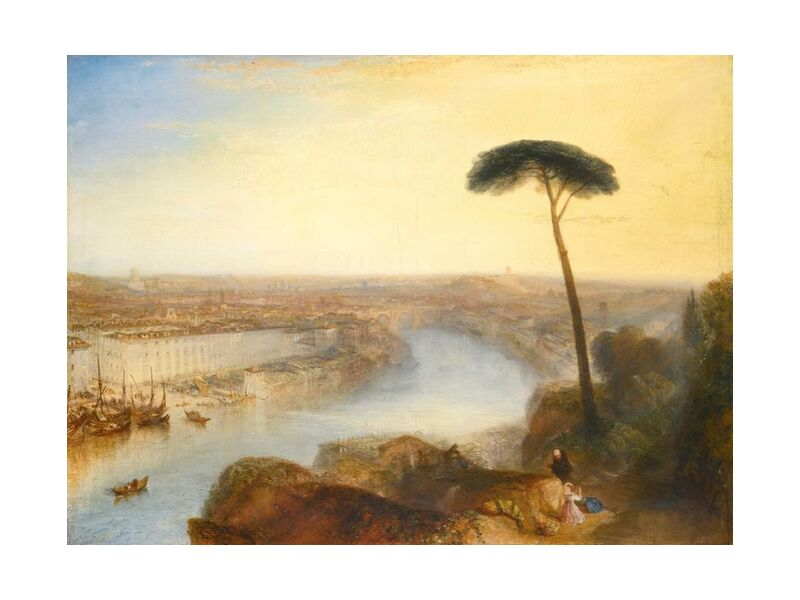 Rome, From Mount Aventine - WILLIAM TURNER 1835 from Aux Beaux-Arts, Prodi Art, tree, nature, mountains, sky, Sun, painting, River, summer, WILLIAM TURNER, rome, Mountain