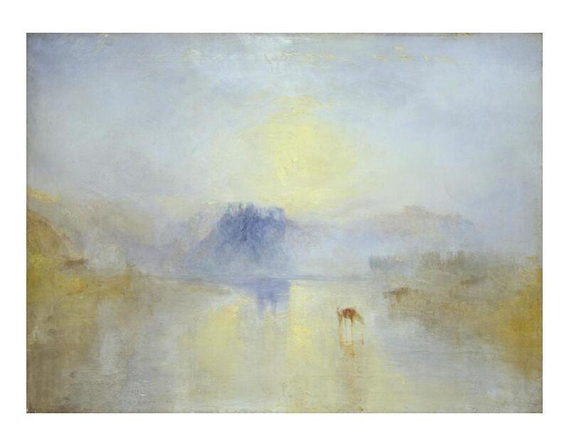 Norham Castle, Sunrise - WILLIAM TURNER 1845 desde AUX BEAUX-ARTS, Prodi Art, Norham, amanecer, pintura, WILLIAM TURNER, Inglaterra, caballos, castillo