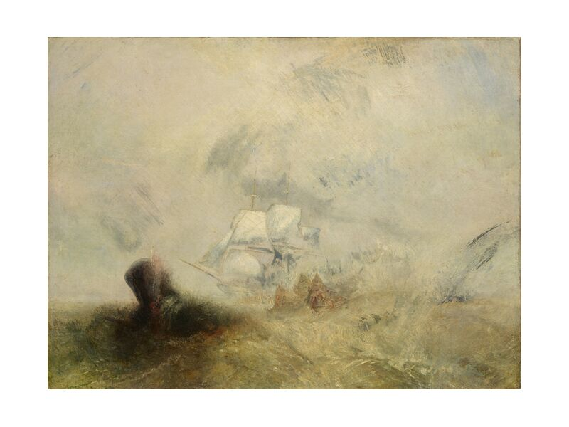 Whalers - WILLIAM TURNER 1840 from AUX BEAUX-ARTS, Prodi Art, sea, boat, peach, WILLIAM TURNER, painting, sea ​​monster, sinner