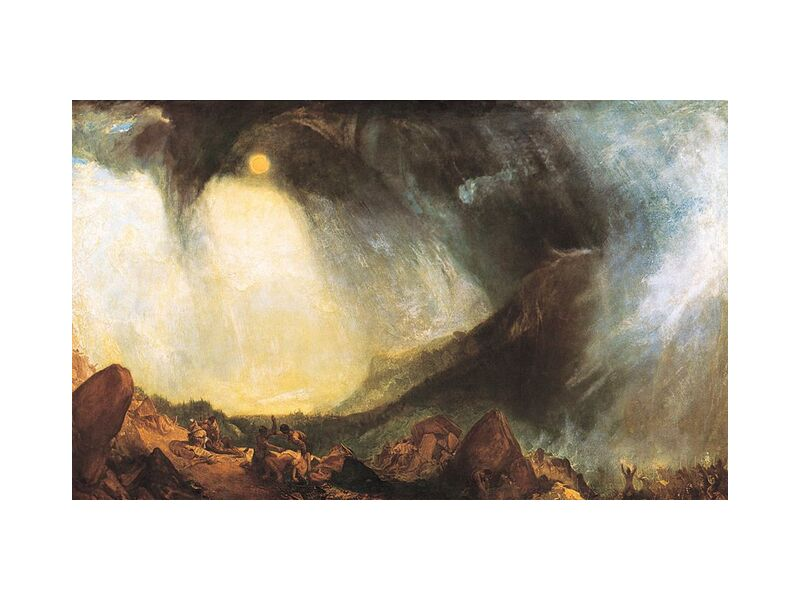 Snow Storm: Hannibal and his army crossing the Alps - WILLIAM TURNER 1812 from Aux Beaux-Arts, Prodi Art, snowstorm, storm, mountains, Alps, Sun, painting, WILLIAM TURNER, army, Hannibal