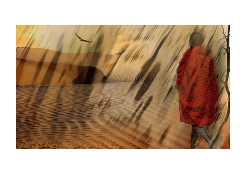 The march of Maasai from Adam da Silva, Prodi Art, desert, market, Sun, drought, dune, sand, tree, massaï, maasaï, vulture, Sandstorm
