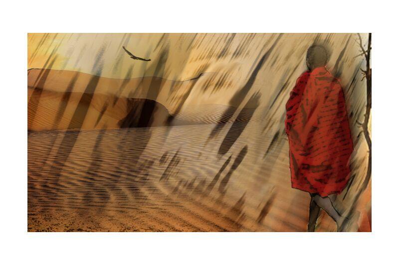 The march of Maasai from Adam da Silva, Prodi Art, desert, market, Sun, drought, dune, sand, tree, massaï, maasaï, vulture, Sandstorm