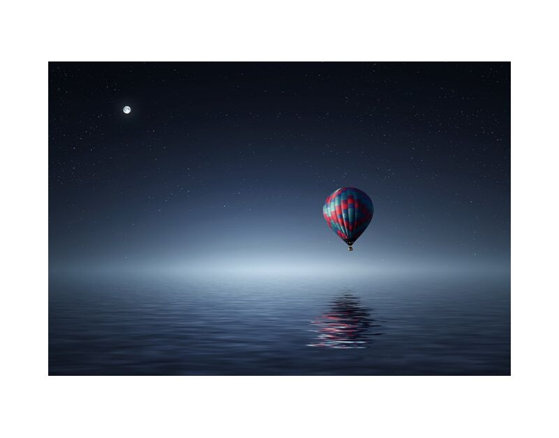 Beyond the adventure from Pierre Gaultier, Prodi Art, adventure, dark, fantasy, flight, float, fly, flying, freedom, illustration, light, lonely, Moon, moonlight, night, ocean, reflection, scenic, sea, sky, stars, travel, water, air, aircraft, airship, balloon, ballooning, harmony, hot-air, hot-air balloon, hotair, loneliness, moving, poetic, seascape water, silence, solitude, starry, transport, transportation, travelling