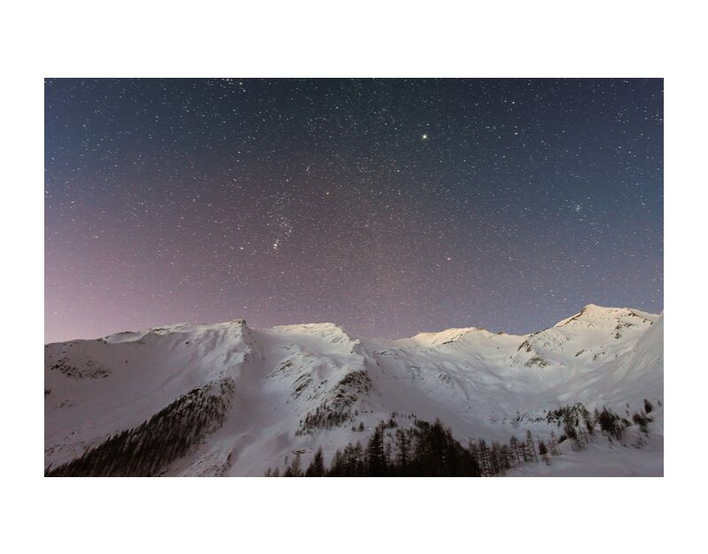 The stars under the mountain from Pierre Gaultier, Prodi Art, adventure, cold, evening, frosty, frozen, high, icy, idyllic, landscape, nature, night, outdoors, peaceful, scenery, scenic, sky, snow, space, stars, tranquil, travel, trees, winter, conifers, exploration, fir trees, mountain, nightscape, nightsky, pine trees, snowy, universe, weather