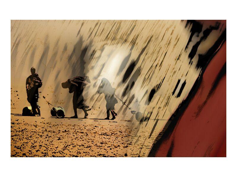 Reality from Adam da Silva, Prodi Art, africa, desert, woman, water, red, yellow, black, white, veiled woman, jar, drought, famine