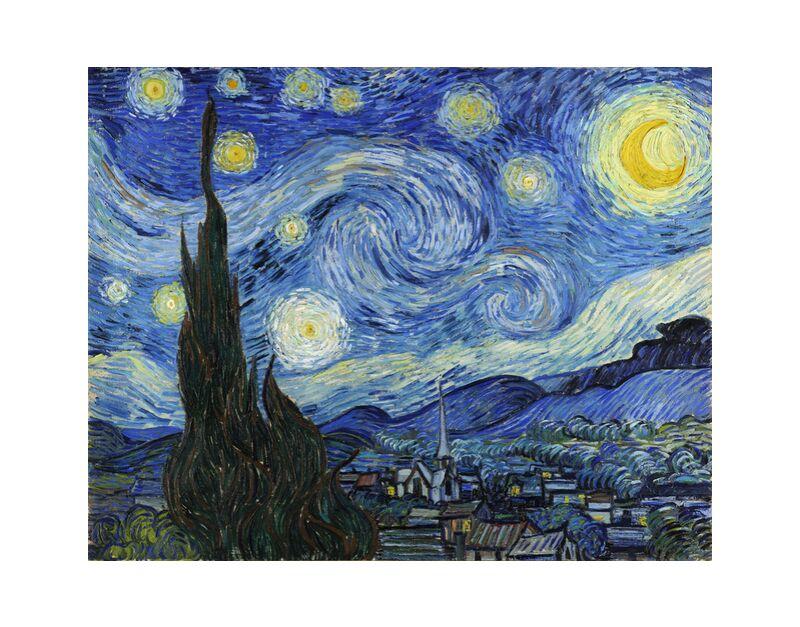 The Starry Night - VINCENT VAN GOGH 1889 desde AUX BEAUX-ARTS, Prodi Art, VINCENT VAN GOGH, astrait, pintura, pueblo, árbol, estrellas, noche, montañas, Valle