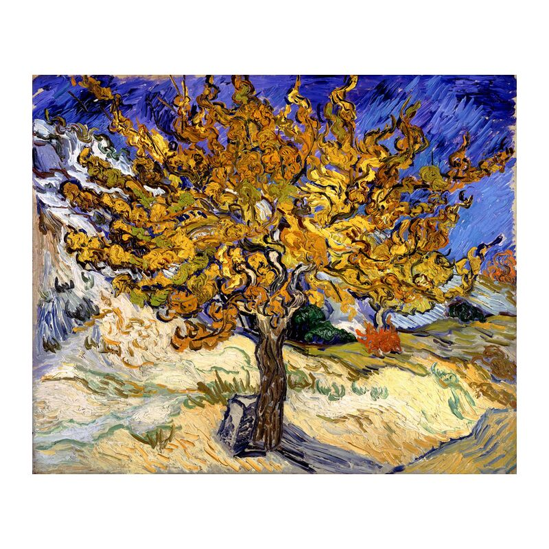 Mulberry Tree at  Saint-Rémy - 1889 VINCENT VAN GOGH from Aux Beaux-Arts, Prodi Art, oil painting, meadow, blue, VINCENT VAN GOGH, Sun, painting, tree