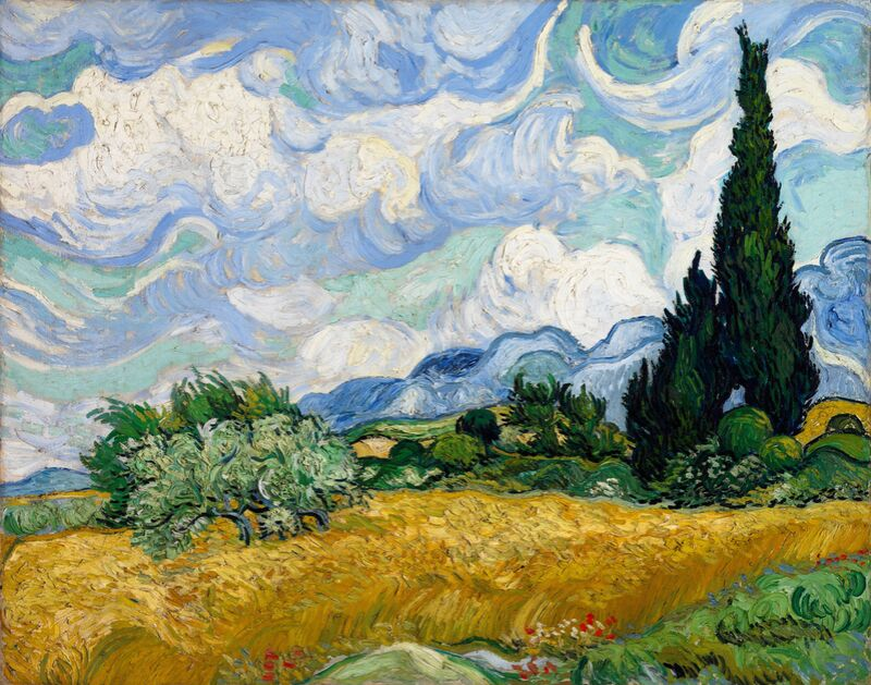 Wheat Field with Cypresses - VINCENT VAN GOGH 1889 from AUX BEAUX-ARTS Decor Image