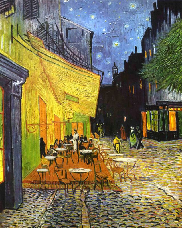The Café Terrace on the Place du Forum, Arles, at Night - VINCENT VAN GOGH 1888 from Aux Beaux-Arts Decor Image