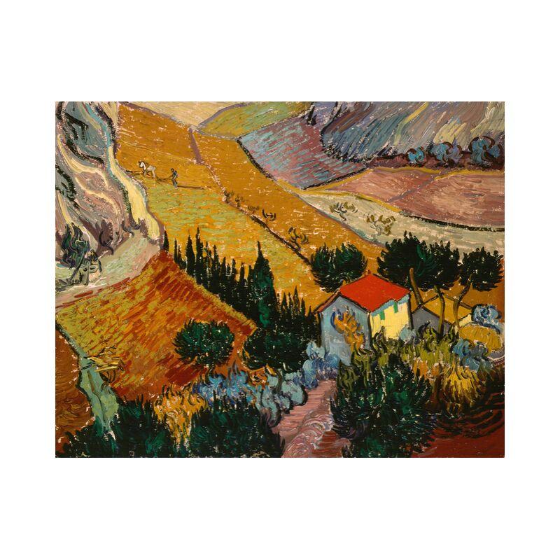 Landscape with House and Ploughman - VINCENT VAN GOGH 1889 from Aux Beaux-Arts, Prodi Art, House, path, trees, wheat fields, fields, landscape, painting,