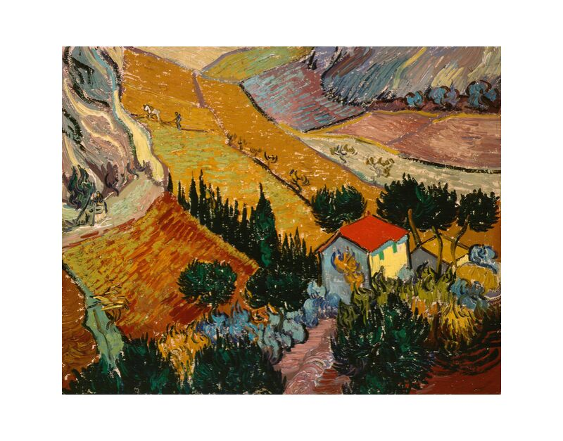 Landscape with House and Ploughman - VINCENT VAN GOGH 1889 desde AUX BEAUX-ARTS, Prodi Art, casa, camino, árboles, campos de trigo, campos, paisaje, pintura, VINCENT VAN GOGH