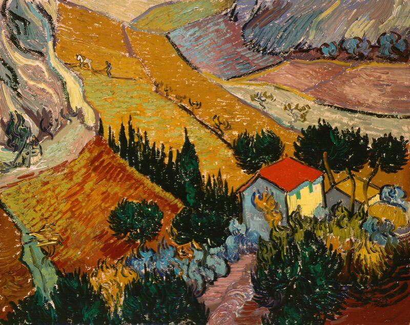 Landscape with House and Ploughman - VINCENT VAN GOGH 1889 from AUX BEAUX-ARTS Decor Image
