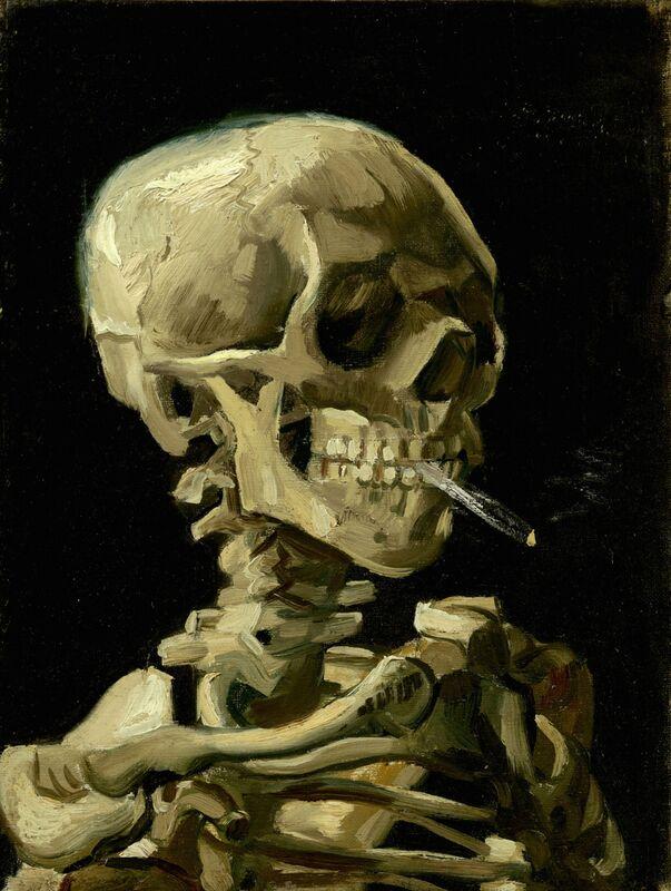 Crâne de squelette fumant une cigarette - VINCENT VAN GOGH de Aux Beaux-Arts Decor Image