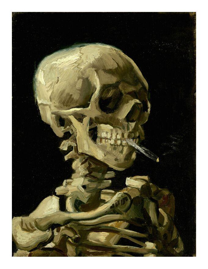 Crâne de squelette fumant une cigarette - VINCENT VAN GOGH de AUX BEAUX-ARTS, Prodi Art, fumée, mort, cigarette, squelette, cran, VINCENT VAN GOGH, foncé, noir