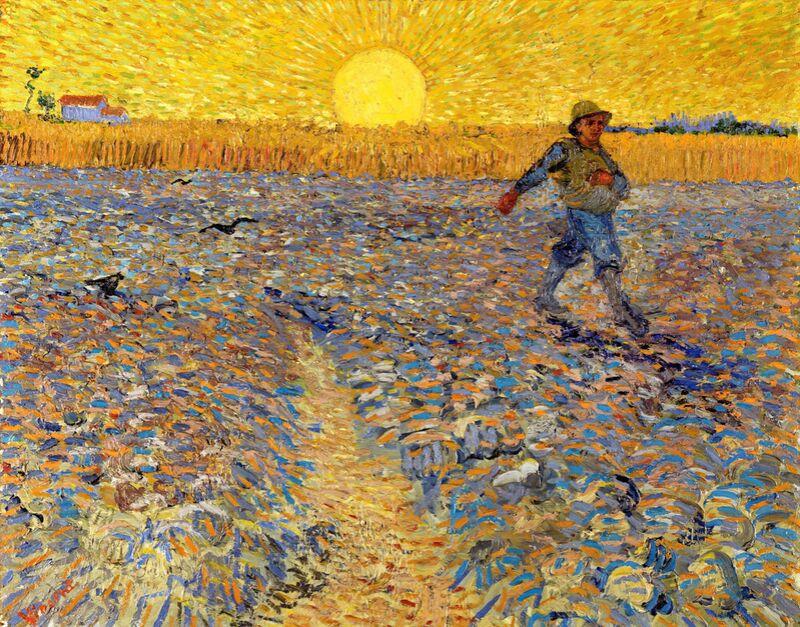 Le semeur au soleil couchant - VINCENT VAN GOGH 1888 de AUX BEAUX-ARTS, Prodi Art, paysage, champs de blé, soleil, peinture, champs, VINCENT VAN GOGH, paysan, agriculteur, semer