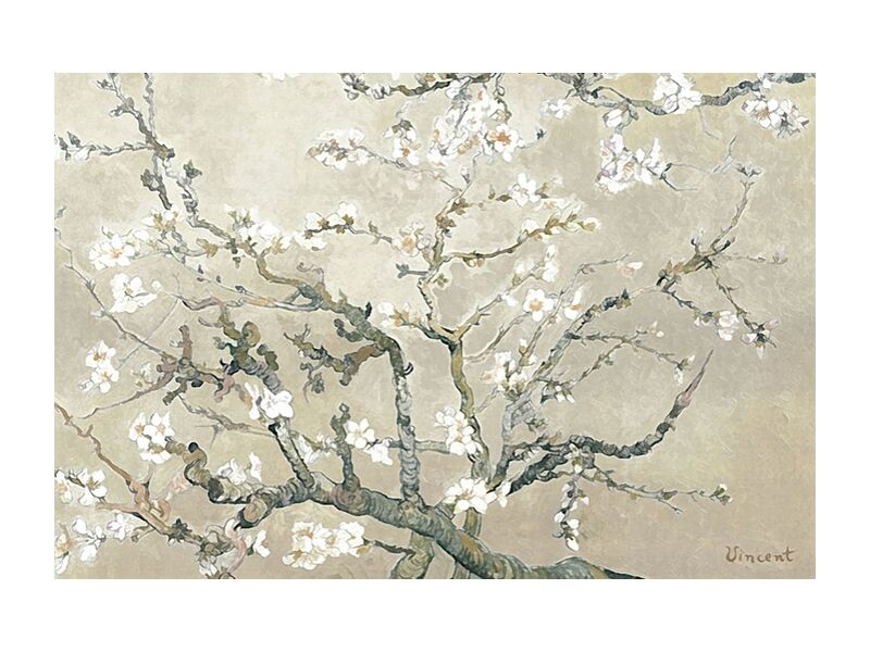 Almond Branches in Bloom, San Remy - VINCENT VAN GOGH 1890 from Aux Beaux-Arts, Prodi Art, , flowering tree, flower, tree, almond, branch, painting