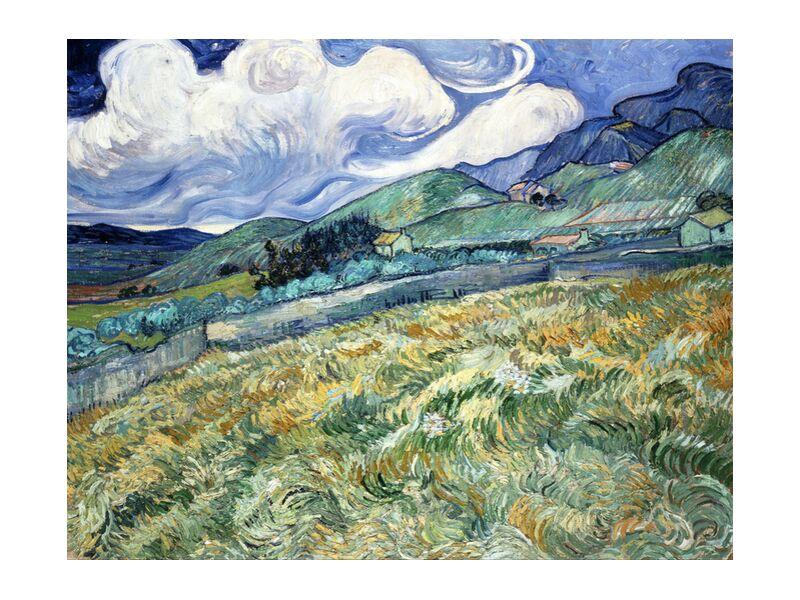 Landscape at Saint-Rémy - VINCENT VAN GOGH 1889 from Aux Beaux-Arts, Prodi Art, houses, , nature, clouds, meadow, trees, fields, wheat fields, painting