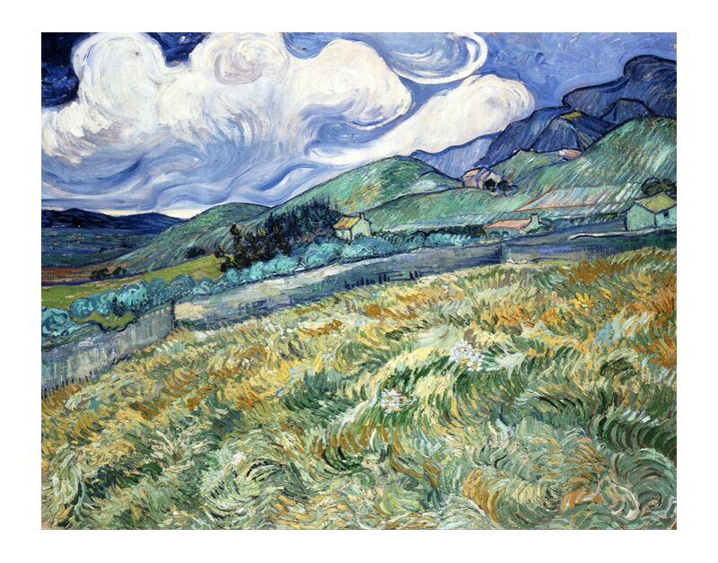 Landscape at Saint-Rémy - VINCENT VAN GOGH 1889 desde AUX BEAUX-ARTS, Prodi Art, casas, VINCENT VAN GOGH, naturaleza, nubes, prado, árboles, campos, campos de trigo, pintura