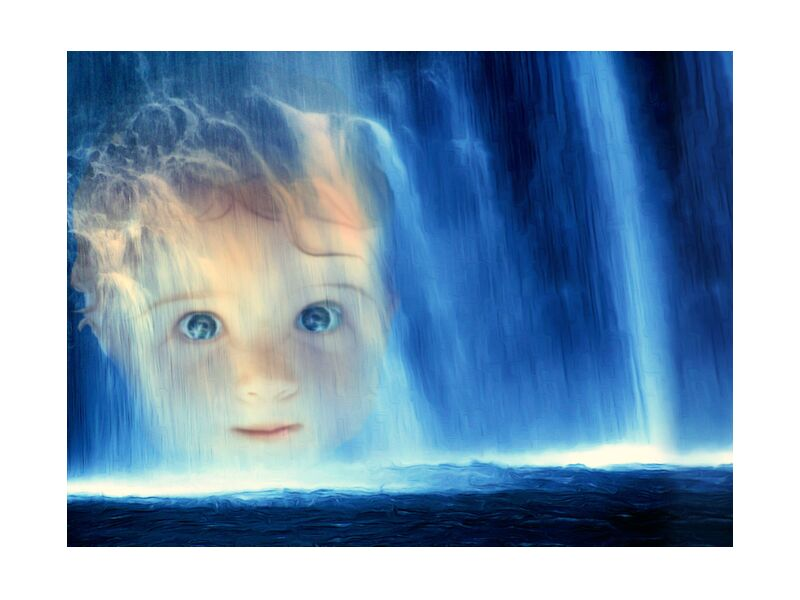 The waterfall from Adam da Silva, Prodi Art, water, blue, face, child, baby, cascade, eyes, stuffy