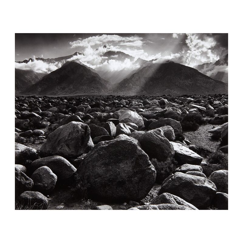Williamson, ANSEL ADAMS from AUX BEAUX-ARTS, Prodi Art, Pierre, stone desert, stone, clouds, ray of sunshine, cloud, mountains, black-and-white, Sun, ANSEL ADAMS