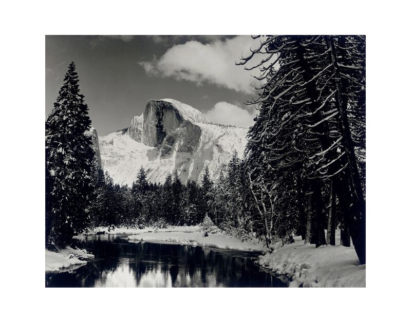 Half dome merced river winter Yosemite ANSEL ADAMS 1938 desde AUX BEAUX-ARTS, Prodi Art, alfiler, bosque, montañas, blanco y negro, invierno, nieve, árbol, ANSEL ADAMS, río