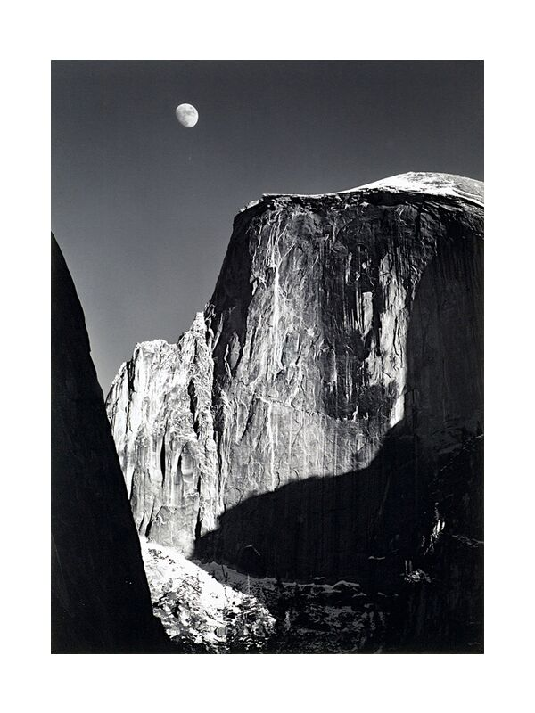 Yosemite national park,  California, ANSEL ADAMS - 1960 from AUX BEAUX-ARTS, Prodi Art, mountains, Moon, sky, shadow, black-and-white, ANSEL ADAMS