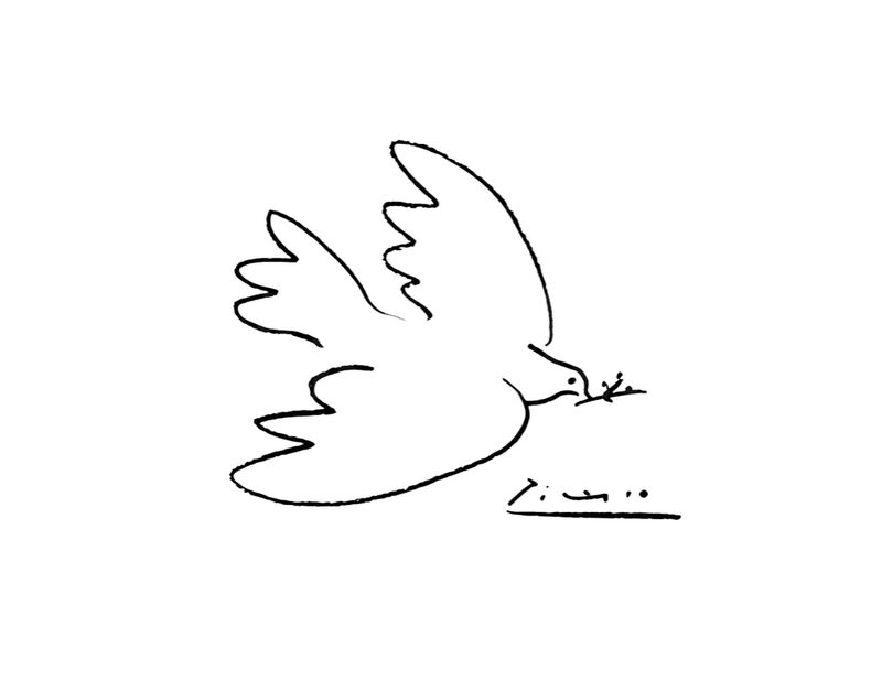 Dove of peace - PABLO PICASSO desde AUX BEAUX-ARTS, Prodi Art, PABLO PICASSO, dibujo a lápiz, paloma, dibujo