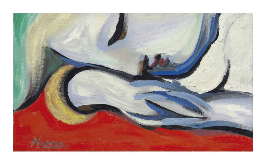 Rest - PABLO PICASSO from AUX BEAUX-ARTS, Prodi Art, sleep, PABLO PICASSO, red, portrait, woman, painting, blonde hair, resting