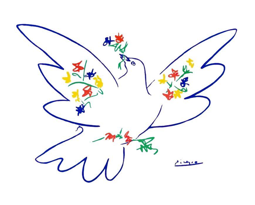 La colombe de paix - PABLO PICASSO de AUX BEAUX-ARTS, Prodi Art, PABLO PICASSO, dessin au crayon, dessin, amour, paix, colombe