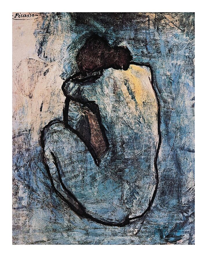 Blue nude - PABLO PICASSO from Aux Beaux-Arts, Prodi Art, PABLO PICASSO, portrait, woman, painting, blue, naked
