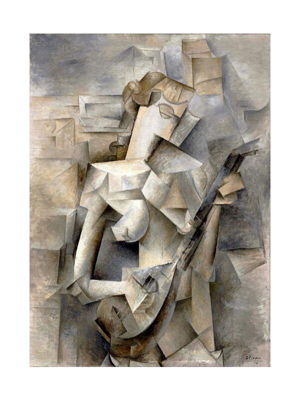 Girl with a Mandolin - Pablo Picasso 1910 from AUX BEAUX-ARTS, Prodi Art, PABLO PICASSO, blonde hair, girl, woman, mandolin, violin, music, guitar, young lady