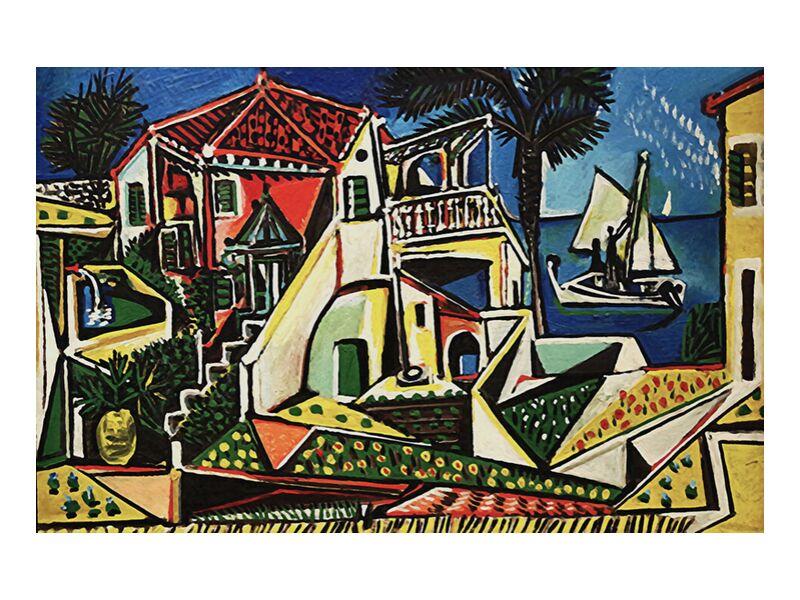 Paysage méditerranéen - PABLO PICASSO de Aux Beaux-Arts, Prodi Art, coquillage, bord de mer, soleil, vacances, plage, mer, village, ville, PABLO PICASSO