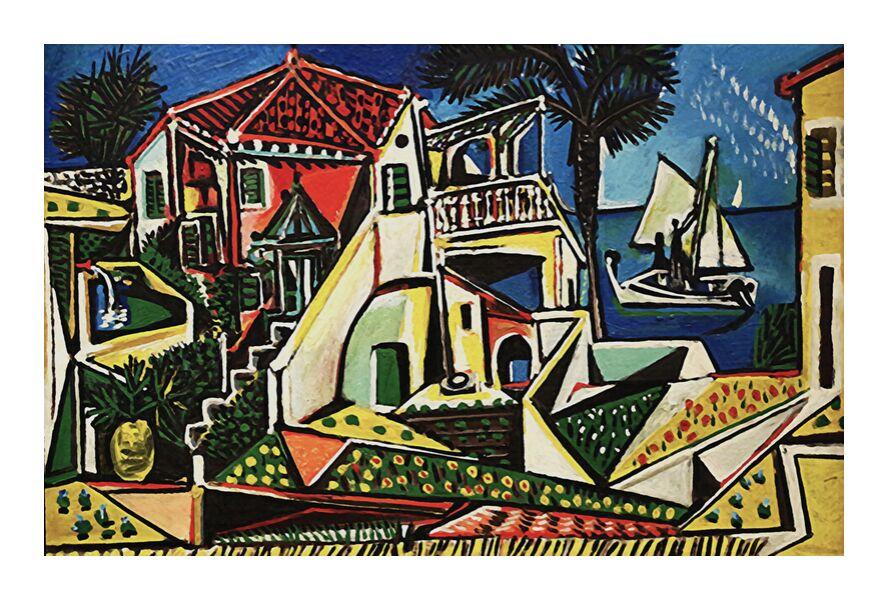 Paysage méditerranéen - PABLO PICASSO de AUX BEAUX-ARTS, Prodi Art, PABLO PICASSO, ville, village, mer, plage, vacances, soleil, bord de mer, coquillage