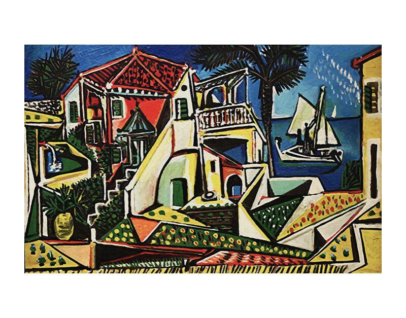 Mediterranean Landscape - PABLO PICASSO desde AUX BEAUX-ARTS, Prodi Art, PABLO PICASSO, ciudad, pueblo, mar, playa, fiesta, sol, orilla del mar, cáscara
