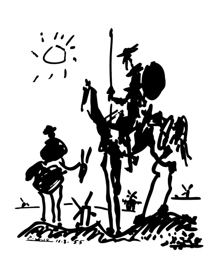 Don Quichotte - PABLO PICASSO de AUX BEAUX-ARTS, Prodi Art, dessin, dessin au crayon, soleil, PABLO PICASSO, âne, don quichotte